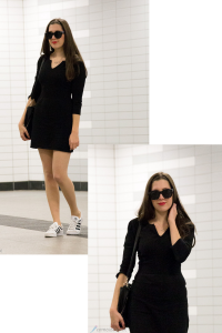outfit, le specs, mango, hallhuber, adidas top ten sleek, black, white, little black dress, das kleine schwarze, sunglasses, sonnenbrille, cateye
