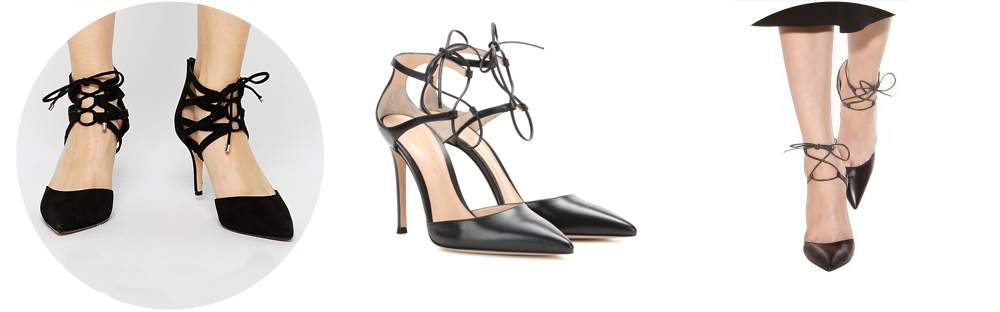 style test, budget, luxury, asos, dune, gianvito rossi, lace up, heels