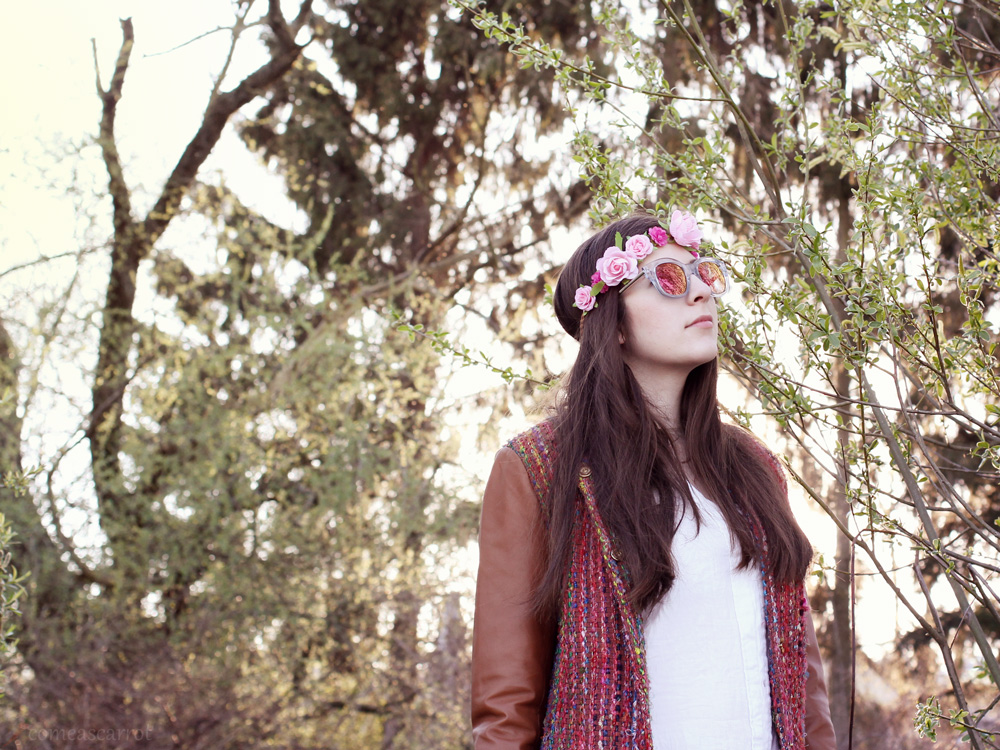 outfit, goosecraft, leather jacket, hippie, blumenkranz, le specs, festival look