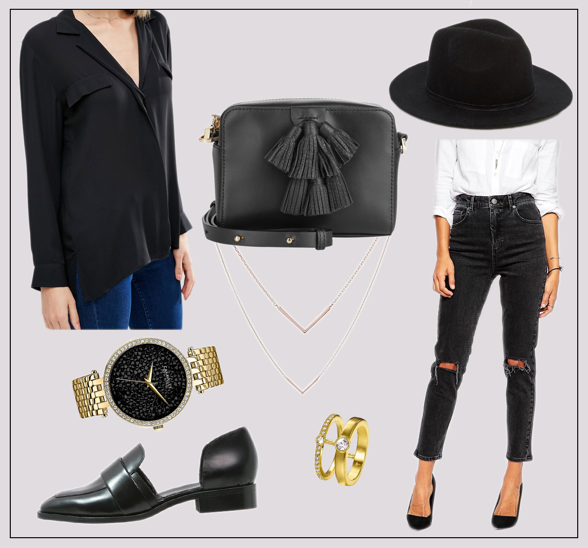 shopping, fashion, picks, editors, back, to, black, outfit, look, ripped, jeans, hat, rebecca minkoff, sofia, slippers