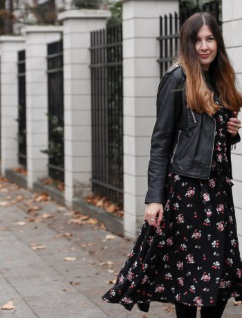 outfit, asos,floral, midi, dress, fall, winter, leather jacket