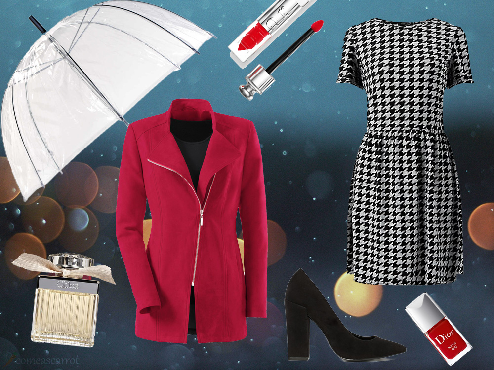 red coat, houndstooth dress, asos, new look, witt weiden, dior, chloe, rain outfit