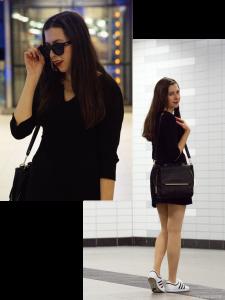 outfit, le specs, mango, hallhuber, adidas top ten sleek, black, white, little black dress, das kleine schwarze, sunglasses, sonnenbrille, cateye
