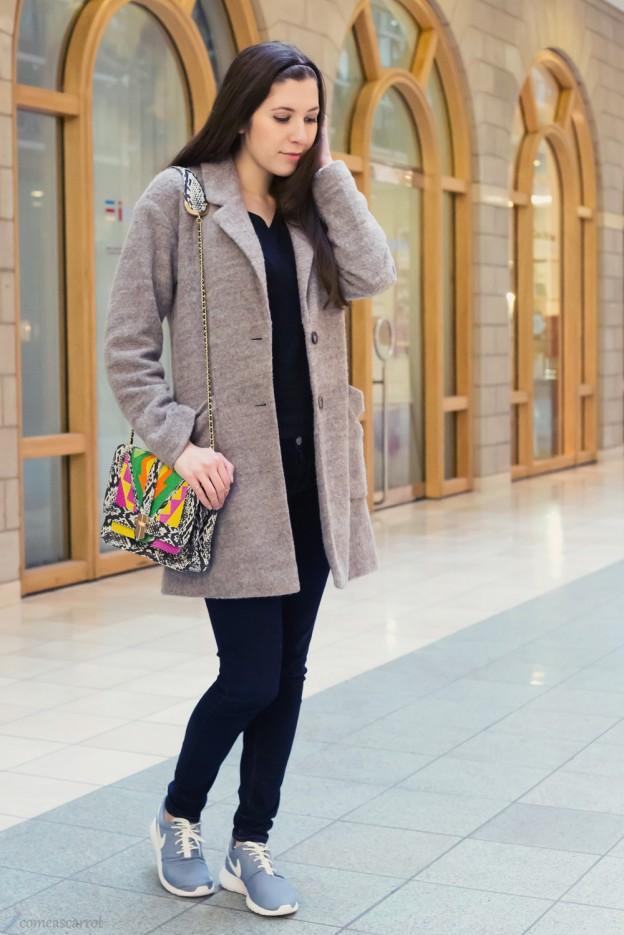 outfit, grey, nike roshe run, angel jackson, josie loves, bag, satc, coat, satc tasche