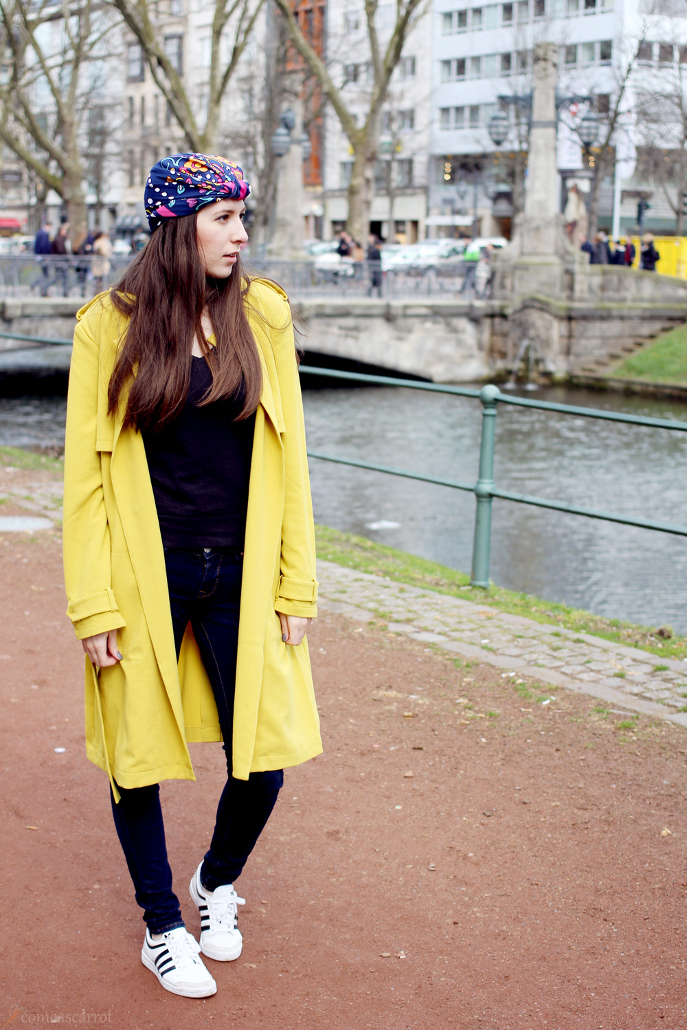 outfit, curry, mustard, tom tailor, trenchcoat, turban, düsseldorf
