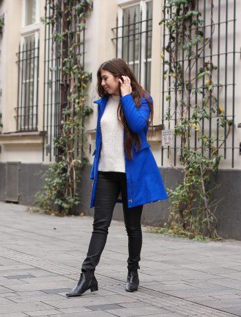 autumn, outfit, desigual, blue coat, electric blue, kuschelpullover, pandora, ringe, ringstacking, blauer mantel, fashionblog, fashionblogger, fashion, blog, blogger, düsseldorf, modeblog